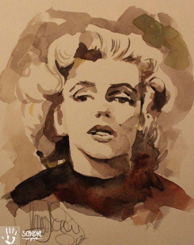 Aquarell Marilyn Monroe in Hollywood