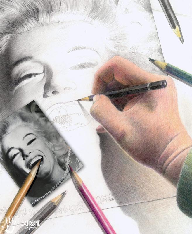 Künstler Thomas-Schöne: Zeichnung einer Zeichnung