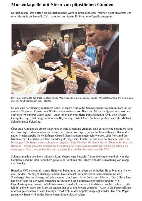 Der Papst segnet den Stern
