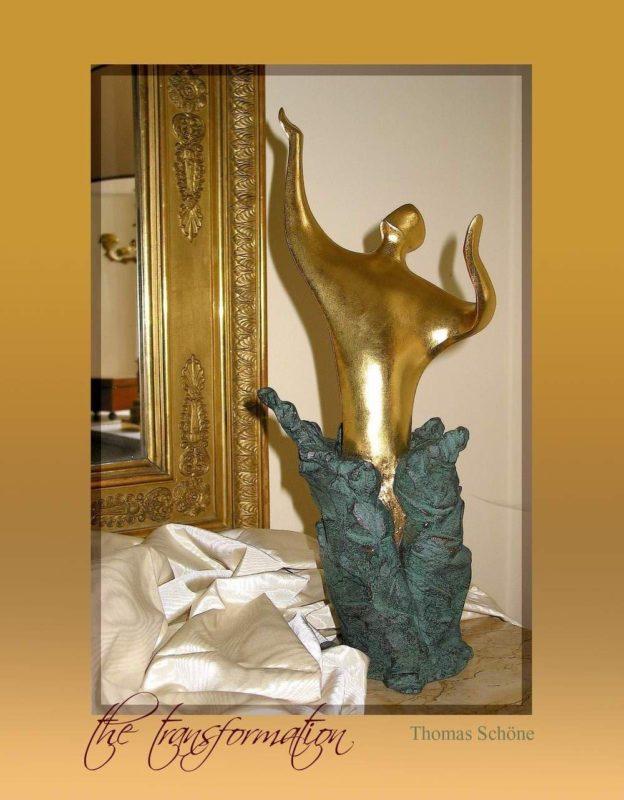 Die Wandlung, Skulptur vergoldet, patiniert