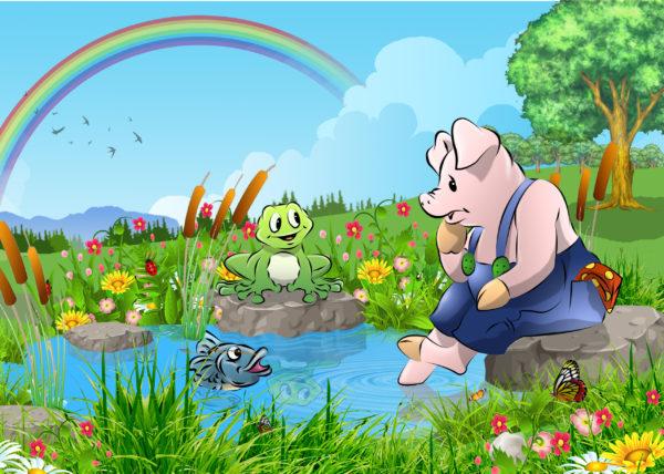 Das Schwein am Teich