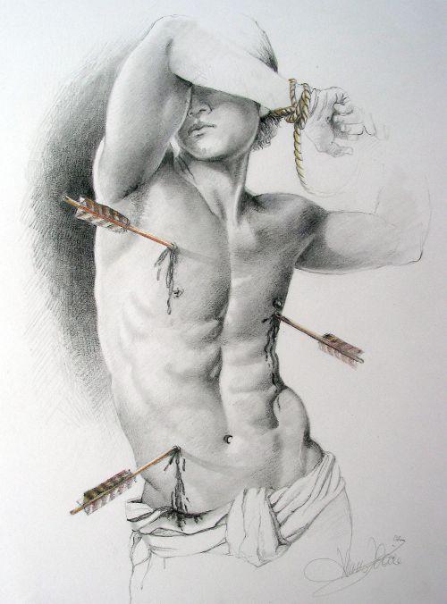 Hl. Sebastian Buntstift, Bleistift