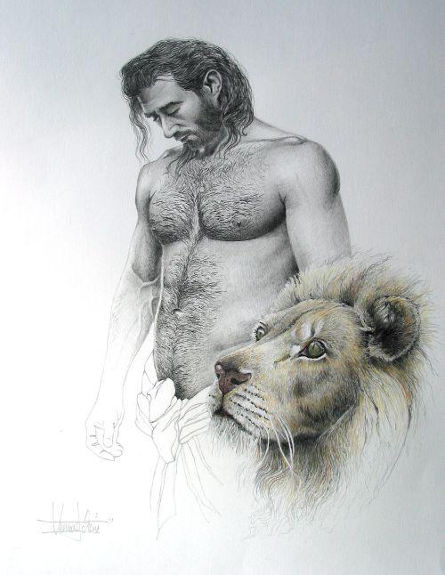 Daniel in der Löwengrube Bleistift, Buntstift