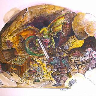 Illustration mit einem Drachen