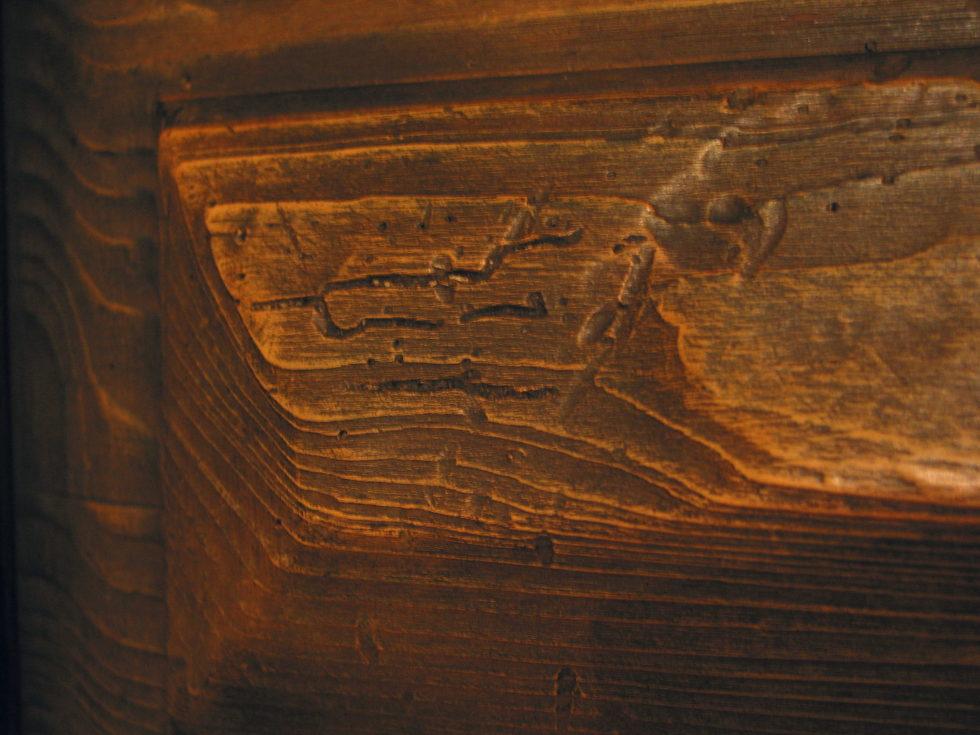 Holztuer patiniert im Detail