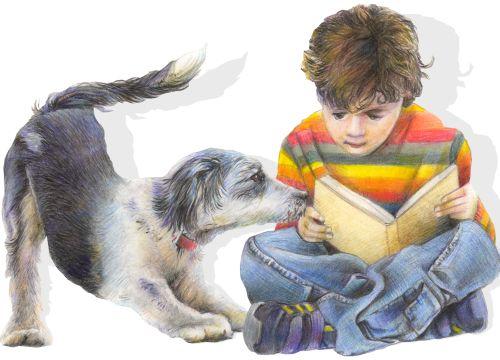 Junge und Hund Buntstift