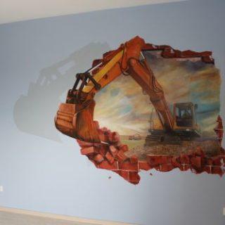 Raumgestaltung: Kinderzimmerbemalung Bagger