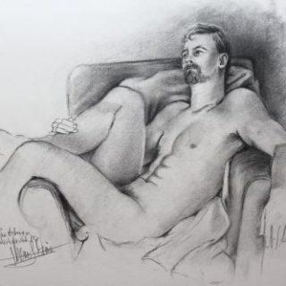 Männerakt in Kohle und Bleistift