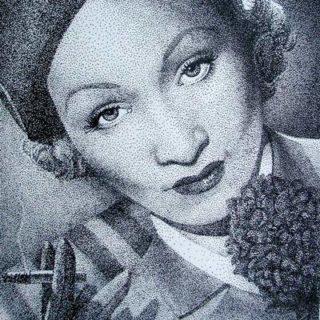 Marlene Dietrich in Tusche