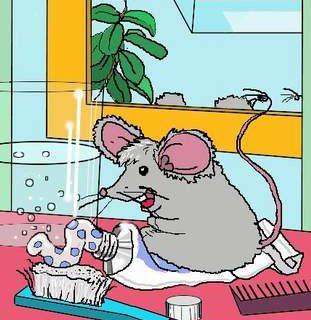 Maus beim baden