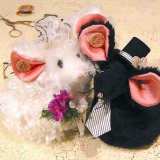 Stofftiere-plueschtiere: Mäuse in verschiedenen Materialien
