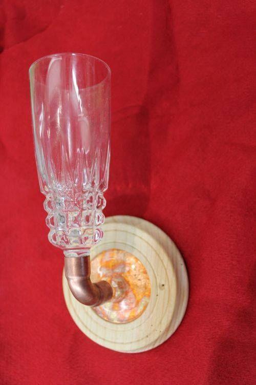Glas umgearbeitet zum Kerzenhalter