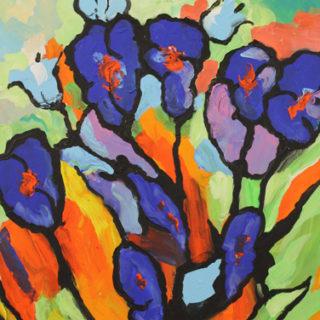 Blumen in blau Gemaelde in Acryl