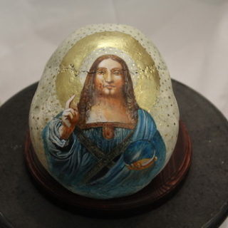 """Religion: Skulptur """"Jesus (nach Leonardo da Vinci) auf Schädel"""""""