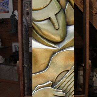 """Sonstige-skulpturen: Skulptur """"Holzrelief im Stil des Kubismus"""""""